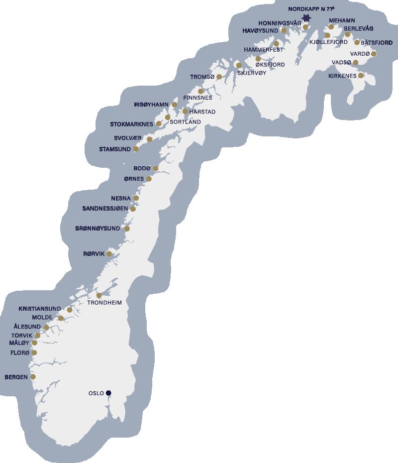 Hurtigruten - Havila: routenkarte norway pro travel