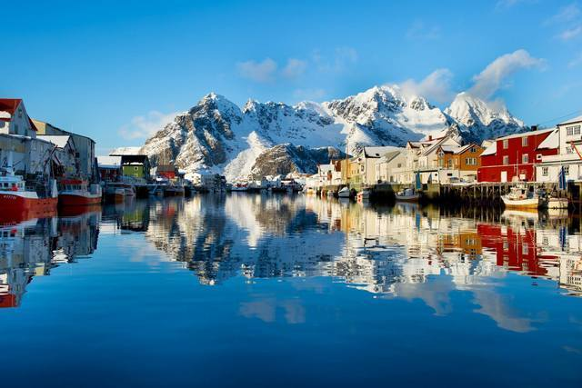Winter: henningsvCAr harbour lofoten coastal cruise fredrik geelmuyden