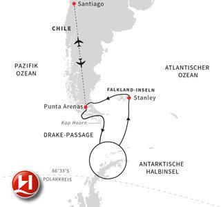 Entdeckungsreise Antarktis, Falklandinseln und chilenische Fjorde, inklusive Flug
